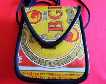 Recycled BGI Beer Can Purse/Carrier with Adjustable Cord - 1980s - Handmade Fun