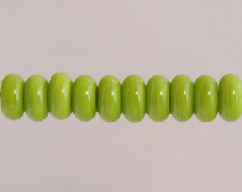 Spring Green Neon Lampwork Glass Bead Spacer Donut Shape Set. MADE TO ORDER