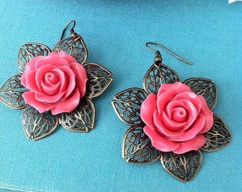 Bronzed Coral Rose Earrings