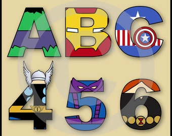The Avengers Alphabet Letters and Numbers Clip Art Pack
