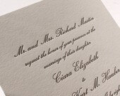 The Conservatory Suite - Formal Letterpress Wedding Invitation Suite, Script, Classic, Timeless, Elegant, Traditional, Black, Grey, White