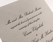 The Conservatory Suite - Formal Letterpress Wedding Invitation Sample, Script, Classic, Timeless, Elegant, Traditional, Black, Grey, White