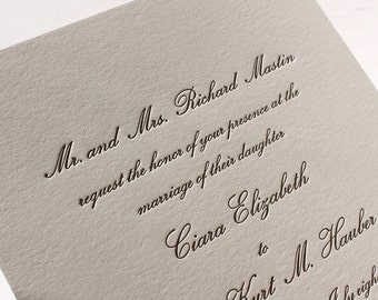 The Conservatory Suite - Formal Letterpress Wedding Invitation Sample, Script, Classic, Timeless, Elegant, Traditional, Black, Grey, White