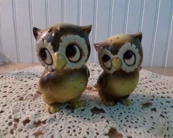 Vintage 1960's Josef Originals Big Eyed Owls Figurines