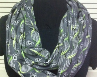 Science Chemistry DNA Strands and Atoms Grey Cotton Infinity Scarf