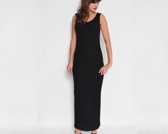 Vintage 90's Black Maxi Long Sheer Sleeveless Dress