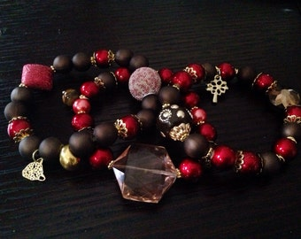 Brown and Red beaded bracelet.