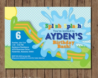 Water Slide Birthday Invitation - Printable - Boy or Girl - Green Blue Orange Yellow - Choose Digital or Printed w/Envelopes