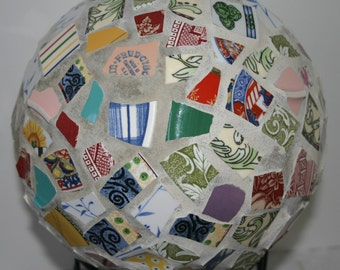 Mosaic Bowling Ball Vintage China Pieces Garden Sphere with Stand Flower Garden Ornament