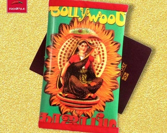 Passport cover travel gift kitsch India Bollywood in printed vinyl