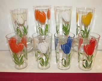 Vintage TULIP GLASSES Set of 8
