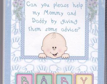 Baby Shower Advice/Activity Books Handprint Boy Girl