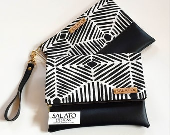 Black and White Line Clutch, Fold Over Clutch, Black Clutch, Wristlet, Leather Wristlet, Leather Clutch, Bridesmaid Clutch, Gift For Her,