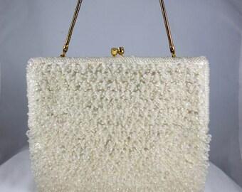 1950s White Beaded Handbag,Mid Century Beaded Purse,Flower Beaded Purse,Vintage White Evening Bag,Sparkly White Purse,Vintage Beaded Clutch