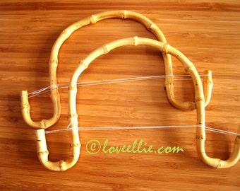 PURSE HANDLES - Bamboo - Natural - Curly Hook Handles 8 x 5.5 inch x 1 pair - handbags and purses - make your own - ready made handles