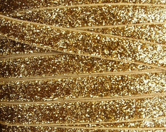 3/8 Inch GOLD Glitter Fold Over Elastic