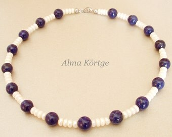 Chain freshwater cultured pearl necklace lapis lazuli