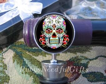 Wine Bottle Stopper, Skull Bottle Stopper,  Hostess Gift,  Housewarming Gift,  Sugar Skull Bottle Stopper, Day of the Dead.
