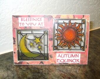 Autumn Equinox Card Stained Glass Fall Harvest Mabon Sun Moon