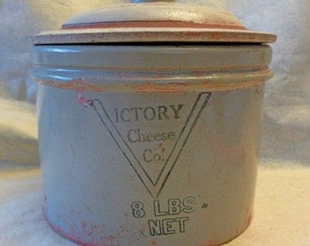 Antique 8 lb. Salt Glazed Stoneware Crock With Lid Made in USA For Victory Cheese Co.