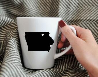 Iowa Mug.  Travel, Cup, Custom, Coffee, hometown