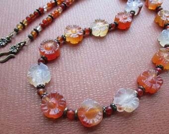 Red Aventurine and Antique Brass Flower Necklace