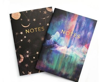 Pocket notebook Constellations & Northern lights set with gold foiling