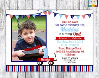Little Red Wagon Birthday Invitation with photo - Personalized Digital Red White and Blue Invite 4x6 or 5x7 jpg or pdf