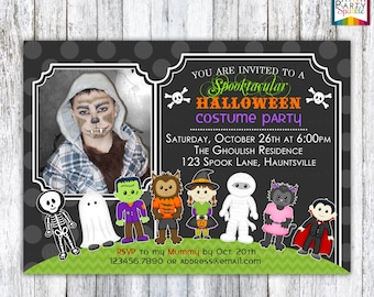 Halloween Party - Costume Birthday Invite - Trick or Treat - Personalized Digital Custom Party Invitation 4x6 or 5x7 jpg or pdf