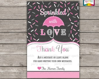 Sprinkled with love Thank you card - Baby Girl Pink and Grey Personalized - Digital Printable 4x6 or 5x7 jpg or pdf
