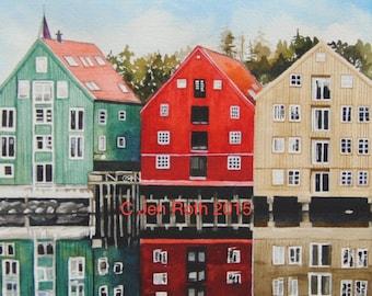"""Watercolor Print """"NORWAY COLOR"""" Watercolor Buildings - Print - Original Watercolor - art home decort"""
