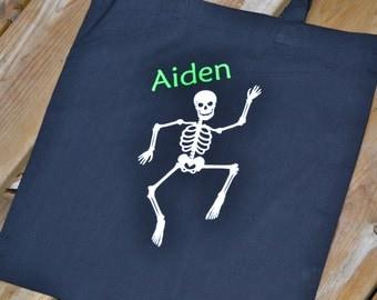 Halloween Bag, Dancing Skelton Personalized Trick Or Treat Bag - Trunk-Or-Treat - Personalized With Name
