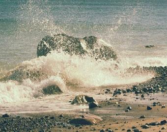 Photo Print or Canvas Gallery Wrap - Crashing Waves on Rocks, New England Rocky Coastline