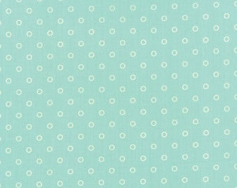 Hello Darling Lollies Cream on Aqua Fabric by Bonnie and Camille for Moda Fabrics