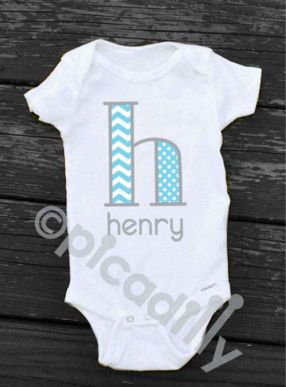 Baby Boy Or Toddler Boy Chevron Monogram Initial Personalized