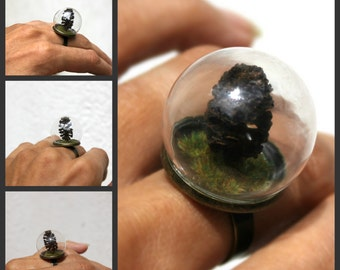 Forest ring, woodland ring, woodland jewellery, large ring, pine cone ring, pine cone, woodland, forest, forest jewellery, terrarium