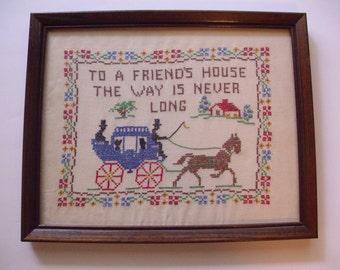 Vintage Framed Sampler, Cross Stitch Sampler, Embroidered Sampler, Friendship Sampler, Antique Sampler, Linen Sampler, Wall Hanging