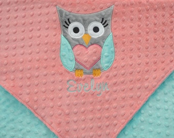 Personalized Baby Blanket 30x36, Owl Baby Girl Blanket, Custom Blanket, Minky Baby Blanket, Made to Order