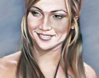 "Jennifer Lopez, painting, poster, print, reproduction, artwork, pastel drawing by artist eugene,16""x20"",22.4""x28"""