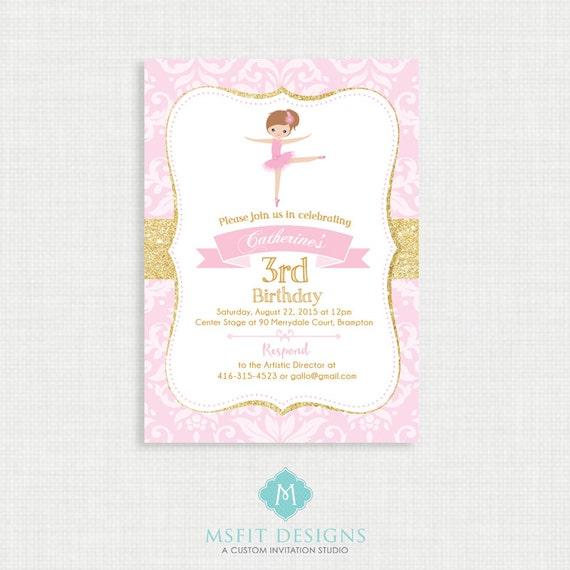 Ballerina Birthday Invitation- Ballerina Birthday Printable,  Birthday Party Invitations, DIY,  Printable Template, Birthday