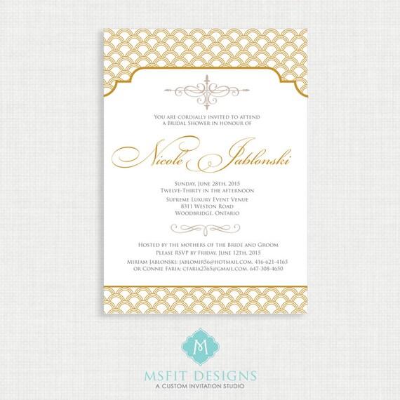 Art Deco Bridal Shower Invitation Template, Printable Bridal Shower Invitation