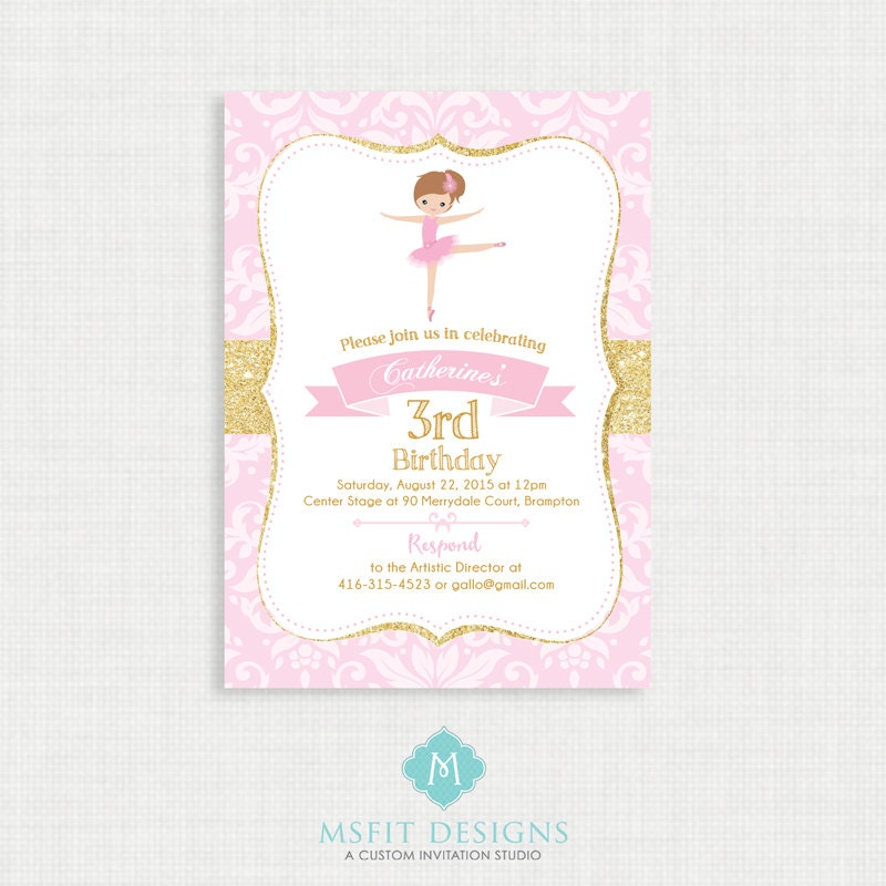 Ballerina Birthday Invitation- Ballerina Birthday Printable ...