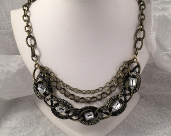Chain Necklace, brass-tone chain with ornate focal