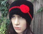 Valentines Adult hat / knit hat / heart hat