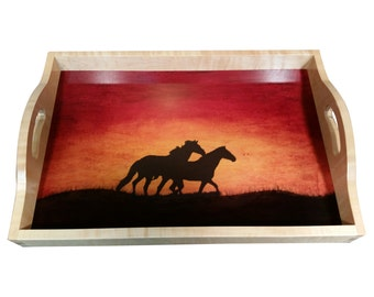 Wood Serving Tray - Curly Maple w/Horse Silhouette & sunset Background (Pre-Order)