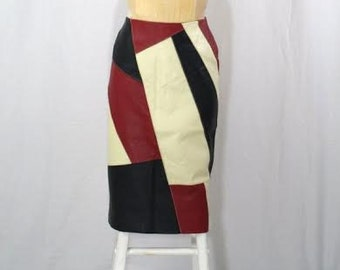 HAUTE-HIPPIE Vintage Boho Rockabilly Pinup Colorblock Leather Skirt by Metro Medium Large SUB138