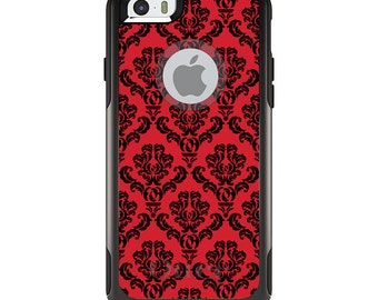 OtterBox Commuter for Apple iPhone 5S SE 5C 6 6S 7 8 PLUS X 10 - Custom Monogram - Any Colors - Red Black Damask Pattern
