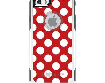 OtterBox Commuter for Apple iPhone 5S SE 5C 6 6S 7 8 PLUS X 10 - Custom Monogram - Any Colors - White & Red Polka Dots