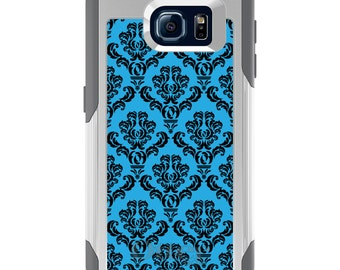OtterBox Commuter for Galaxy S4 / S5 / S6 / S7 / S8 / S8+ / Note 4 5 8 - CUSTOM Monogram - Any Colors - Blue Black Damask Pattern