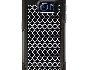 OtterBox Commuter for Galaxy S4 / S5 / S6 / S7 / S8 / S8+ / Note 4 5 8 - CUSTOM Monogram - Any Colors - Black White Moroccan Lattice